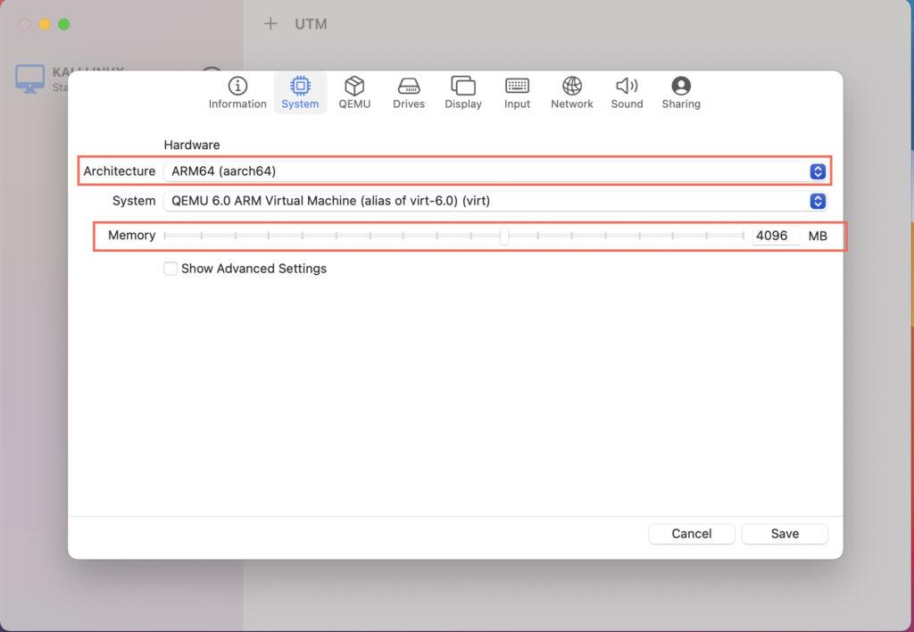 utm windows system tab