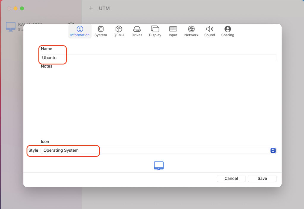UTMでUbuntu20.04をインストール手順1