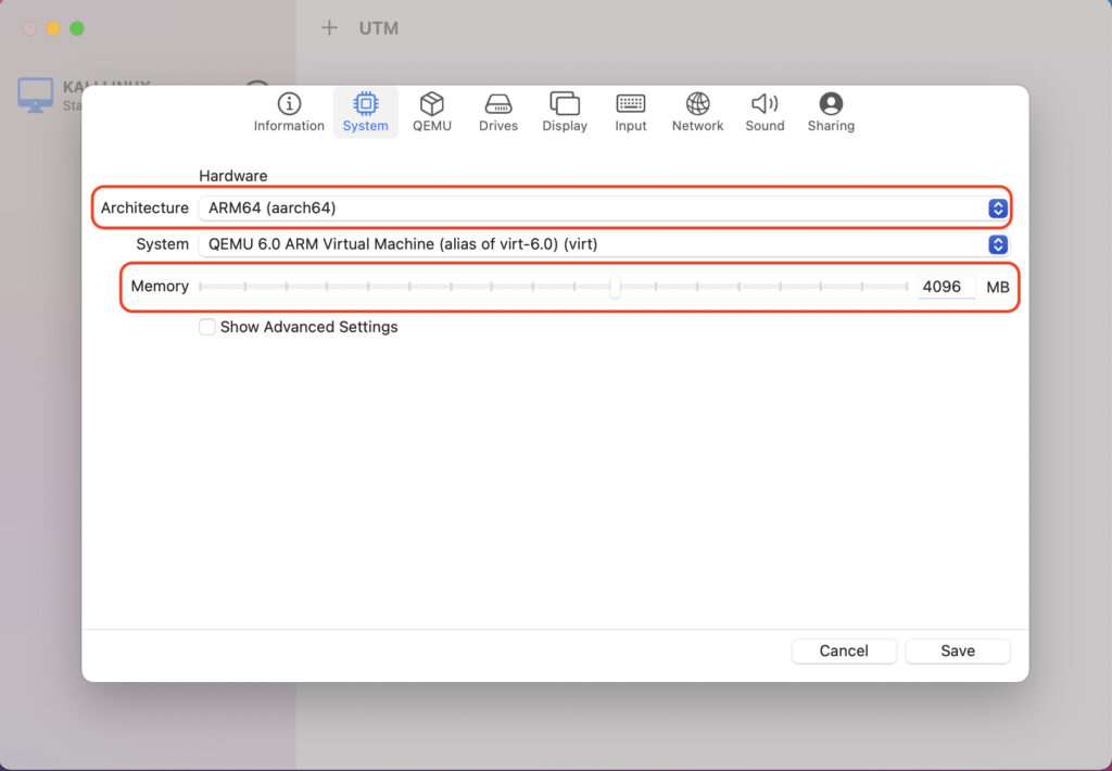 UTMでUbuntu20.04をインストール手順2